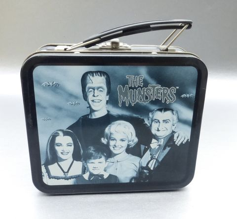 Vintage,90s,The,Munsters,Metal,Lunch,Box,Tin,Pail,Retro,Collection,Collectible,TV,Show,Funny,Monsters,Vampire,Werewolf,Zombies,Family,munsters memorabilia, vintage munsters tv show lunch box, vampire metal lunch box, werewolf lunch box, monster metal lunch box, universal studios memorabilia, zombies ghouls metal lunch box, munster tv sitcom, munster tin lunch pail, gray black lunch box