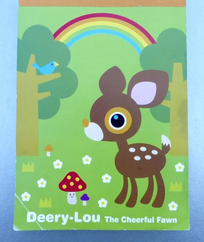 Deery,Lou,Stationery,Notepad,Paper,Notes,Sheets,Pad,Cheerful,Fawn,Rainbow,Animal,Forest,Collectible,Collection,NOS,deery lou stationery, deery lou notepad, sanrio smiles brand, kawaii stationery, cheerful fawn forest, deery lou paper sheets, rare deery lou collection, sanrio collection