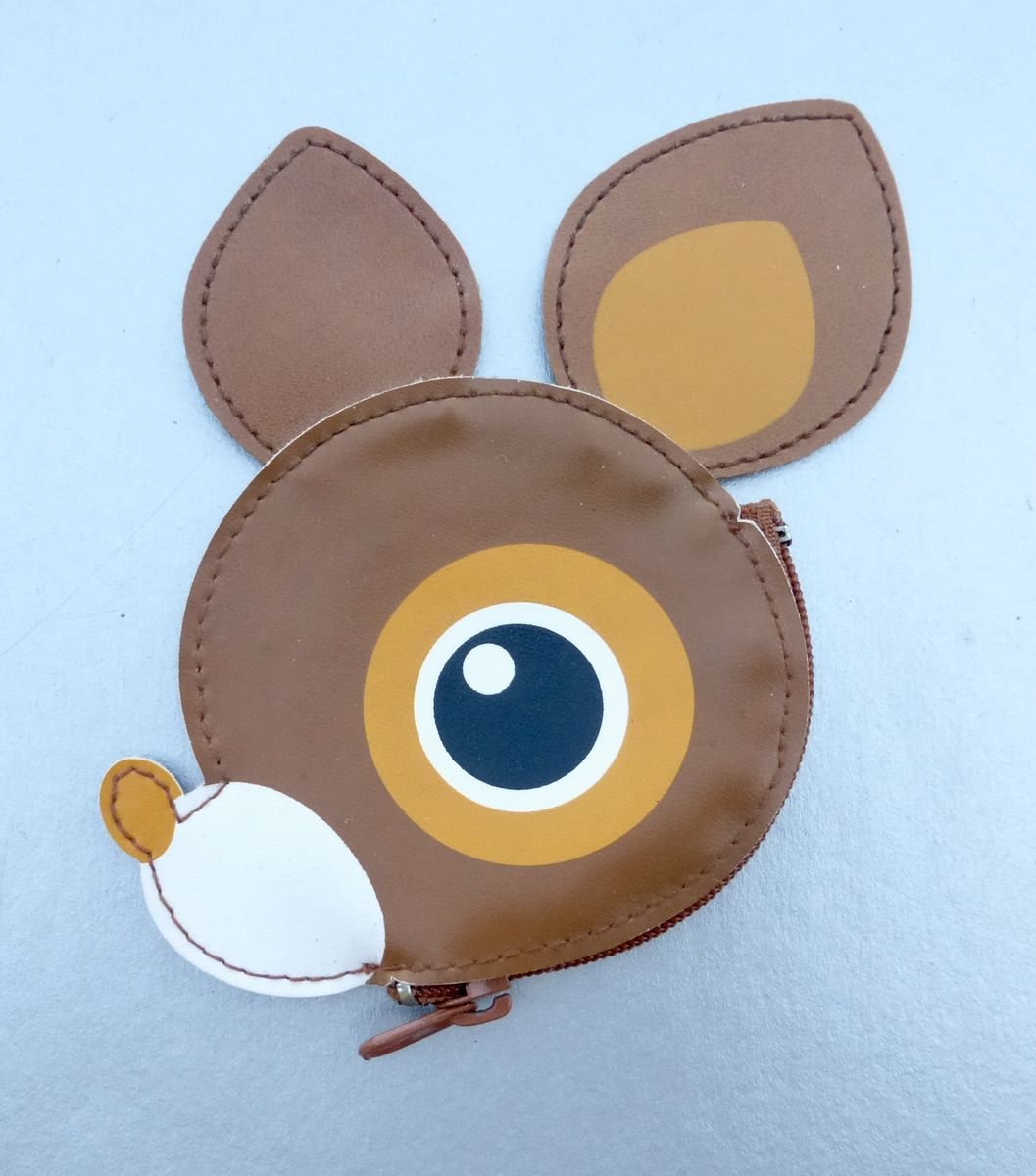Deery Lou Coin Purse Faux Leather Zipper Saucer Eyes Head Cheerful Fawn Animal Baby Deer Sanrio Collectible Doe Circa 2002 Preowned Round - product images  of