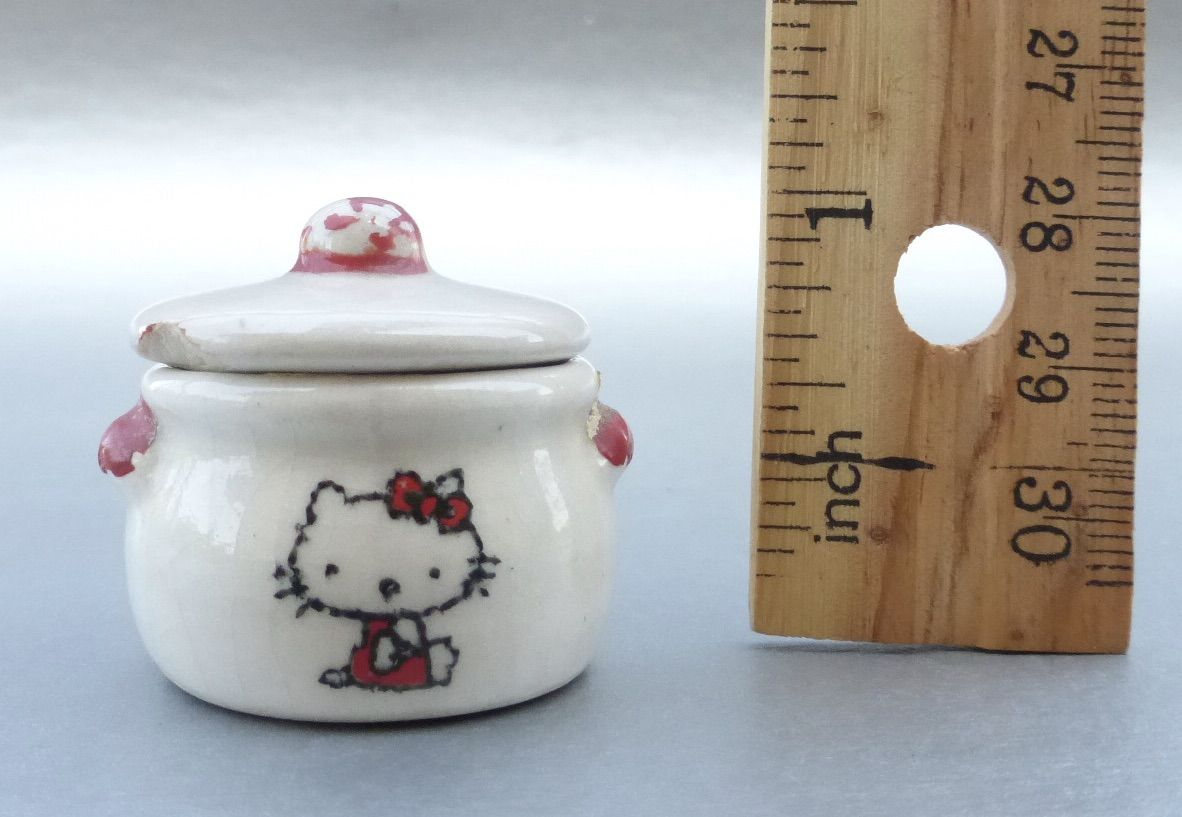 Vintage 80s Little Hello Kitty Ceramic Box Red White Pottery Kitten Cat Collectible Sanrio Collection Iconic  - product images  of