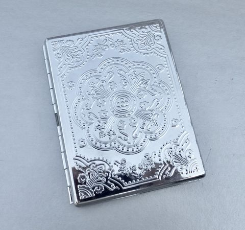 Ornate,Silver,Tone,Cigarette,Case,Embossed,Floral,Engraved,Flower,Etched,Design,Pattern,Rectangular,Holder,ornate silver cigarette case, embossed cigarette case, engraved flower case, etched floral cigarette case holder, etched flower design pattern, embossed floral pattern, silver tone cigarette holder, rectangle silver box, silver box paper holder, souvenir