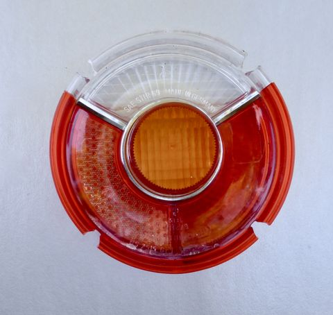 Vintage,1960,-,1973,BMW,2002,Rear,Tail,Light,Genuine,Authentic,Lens,Center,Chrome,Trim,Ring,6,Six,Inches,In,Diameter,SAE,Stir,69,German,1960 bow rear red tail lens, 60s 70s bmw 2002 rear tail light, 1970 rear til light bmw 2002 genuine bmw red round tail light lens, center chrome trim ring, 6 inch diameter, german made rear tail light