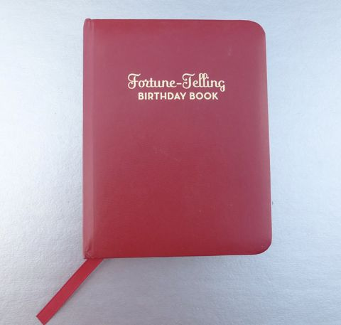 Fortune,Telling,Book,Birthday,Birthstones,Wedding,Anniversaries,Arliene,B,Clark,Flowers,Daily,Readings,Zodiac,Art,Illustration,red faux leather book, fortune telling book, red birthday book, small red compact book, red book, arliene b clark book, red hard bound book, wedding anniversary book, birthstone meaning book, retro art illustration, retro artwork book