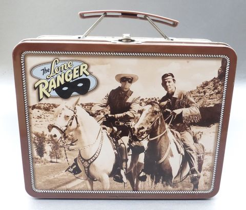Vintage,90s,Lone,Ranger,Lunch,Box,Native,American,Friend,Tonto,Kemo,Sabe,White,Silver,Horse,Metal,Pail,TV,Show,Masked,Texas,Texan,Legend,Western,Case,lone ranger metal lunch box, lone ranger collectible, lone ranger memorabilia, tonto kemo sabe, hi ho silver horse, masked texan ranger tv show, lone ranger collectible tin box, television lunch box, sepia brown picture image, collectible metal lunch box
