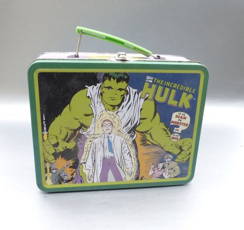 Vintage,1998,The,Incredible,Hulk,TV,Lunch,Box,Collectible,Metal,Tin,Case,Rare,Hard,To,Find,Marvel,Comics,Classic,Television,Show,Behemoth,Co,David,Banner,marvel comics incredible hulk metal lunch box, classic tv set lunch box, marvel comics memorabilia, incredible hulk collectible, classic tv lunch box, green hulk collectible, vintage incredible hulk collectible tin box, classic tv collectible tin box, tel