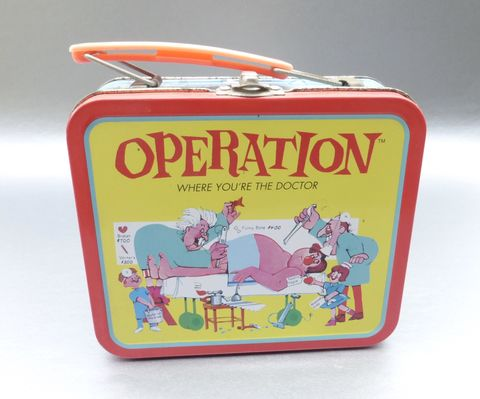 Vintage,1997,Operation,Metal,Lunch,Box,Small,Tin,Pail,Hasbro,Where,You,Are,The,Doctor,Board,Game,Bento,Case,Container,Organizer,Collectible,Memorabilia,hasbro operation memorabilia, vintage operation doctor metal lunch box, yellow red lunch box, operation tin lunch pail, cavity sam metal lunch box, operation lunch pail, operation board game, adams apple, wish bone, medical ailments pictures, funny bone s
