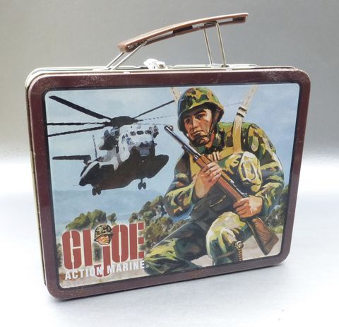 GI,Joe,Action,Marine,Lunch,Box,Collectible,Tin,Can,Hasbro,Metal,Pail,Soldier,Collection,Case,Container,Storage,Military,Figure,Circa,2000,gi joe action marine lunch box, collectible gi joe metal lunch box, hasbro collection lunch box, gi joe marine memorabilia, hasbro memorabilia, vintage marine collectible tin box, hero lunch box, kids boy girl lunch box, gi joe marine rectangular metal lu