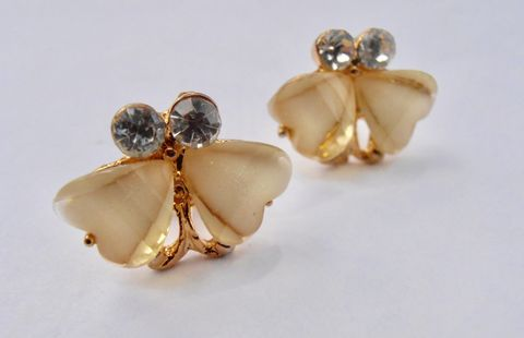 Dainty,Pale,Yellow,Two,Hearts,Gold,Tone,Earrings,Rhinestone,Post,Pierced,Butterflies,Acrylic,Round,Clear,Aurora,Borealis,pale yellow two hearts earrings, clear rhinestone earrings, tiny heart acrylic heart pierced earrings, acrylic yellow hearts gold tone earrings, two yellow butterflies pierced stud earrings