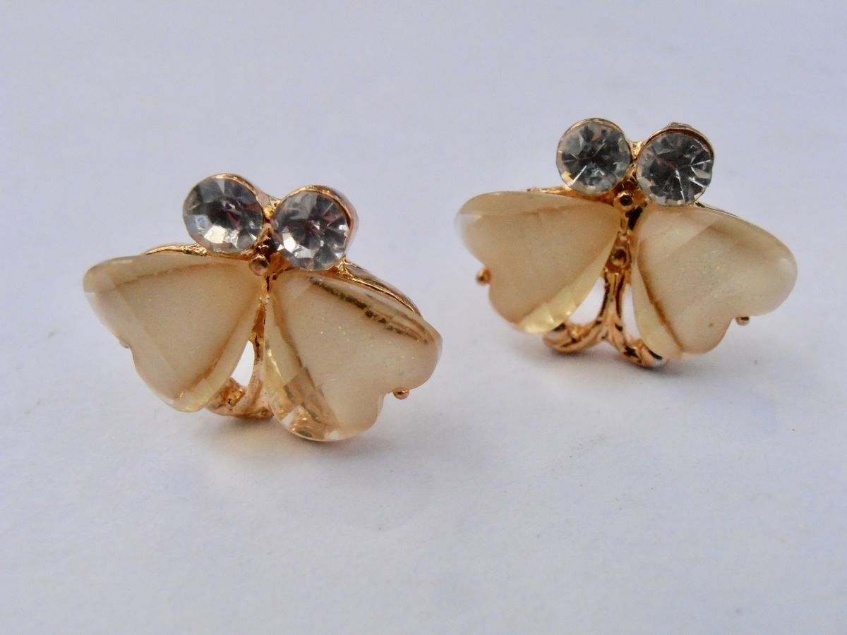 Dainty Pale Yellow Two Hearts Gold Tone Earrings Rhinestone Post Pierced Butterflies Acrylic Round Clear Aurora Borealis - product images  of