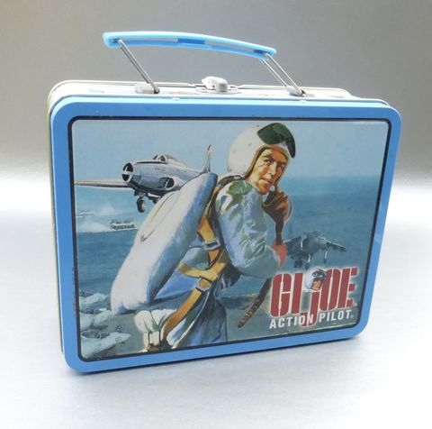 GI,Joe,Action,Pilot,Lunch,Box,Collectible,Tin,Can,Hasbro,Metal,Pail,Collection,Case,Container,Storage,Figure,Circa,2000,gi joe action pilot lunch box, collectible gi joe metal lunch box, hasbro collection lunch box, gi joe pilot memorabilia, hasbro memorabilia, vintage pilot collectible tin box, hero lunch box, kids boy girl lunch box, gi joe pilot rectangular  metal lunch
