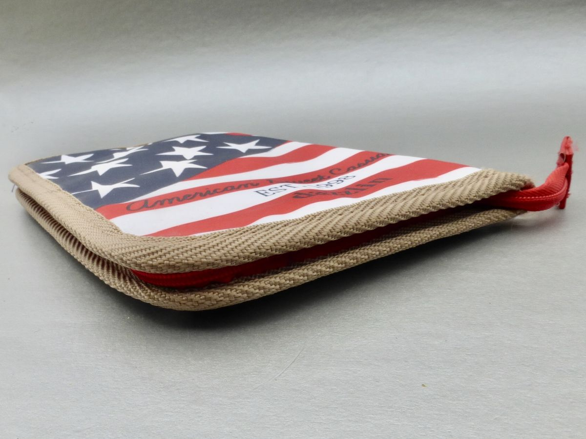 American USA Flag Wallet Nylon Purse Compact Organizer Stars Stripes Red White Blue Patriotic Mesh Pockets Lightweight - product images  of