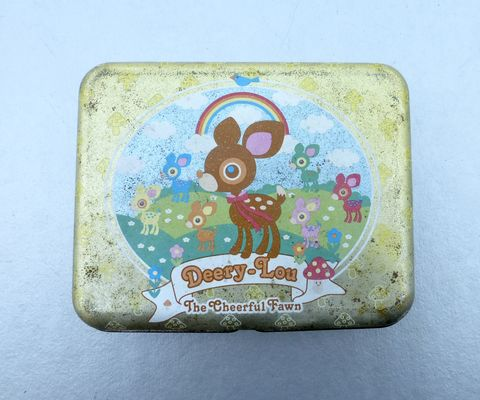 Rare,Deery,Lou,Tin,Can,Metal,Box,Rectangular,Fawn,Rainbow,Trinket,Sanrio,Case,Souvenir,Mementos,Novelty,Sundries,Storage,Organizer,Collectible,Circa,2003,OOAK,deery lou collectible tin can, deery lou tin box, deery lou coin metal case, sanrio tin can, kawaii deer storage, cheerful fawn forest, deery lou collectible, rare deery lou collection, kawaii rectangular metal box deery lou sanrio collection
