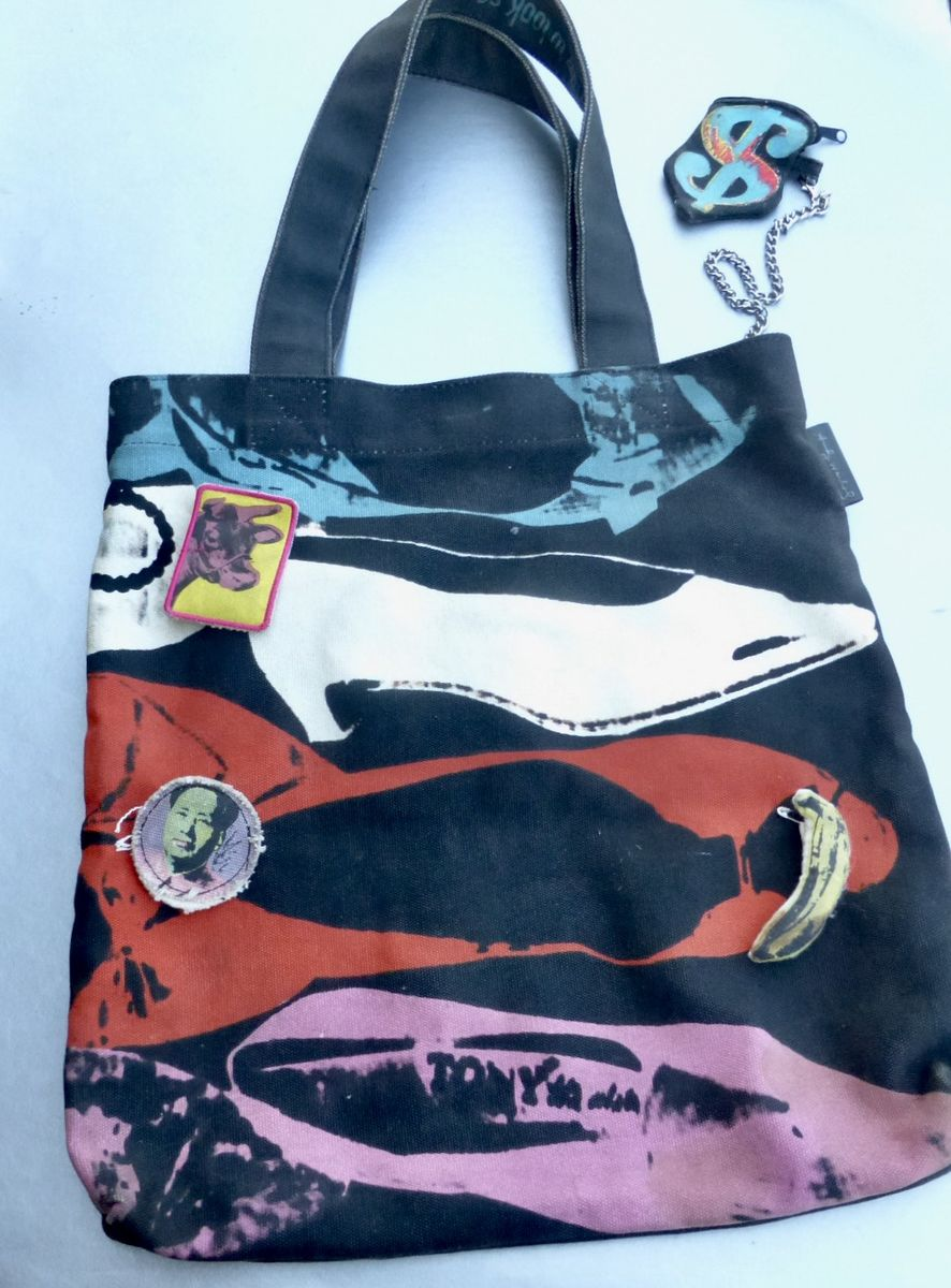 Original Andy Warhol NYC Loop Tote Bag Heavy Canvas MoMA Collectible Rare Memorabilia Limited Edition Discontinued Pop Art Culture Reproduction 1950s Artwork Silk Screen Circa 2009 - product images  of