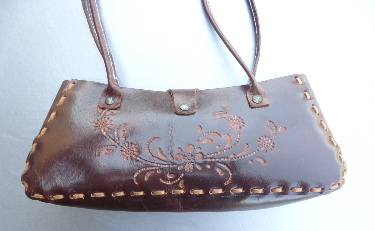 Patina Tooled Floral Authentic Brown Leather Shoulder Purse Flower Natural Bag - product images  of