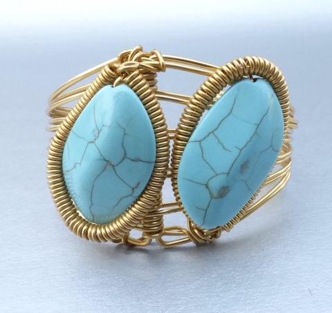 Two,Howlite,Turquoise,Cabochon,Wire,Wrap,Cuff,Bracelet,Gold,Plate,One,Size,Twist,Oval,howlite turquoise cabochon cuff bracelet, turquoise disc bracelet, gold plated wire wrap cuff bracelet, handmade turquoise oval cabochon gold bracelet, one size fits turquoise bracelet, turquoise wire wrap cuff bracelet