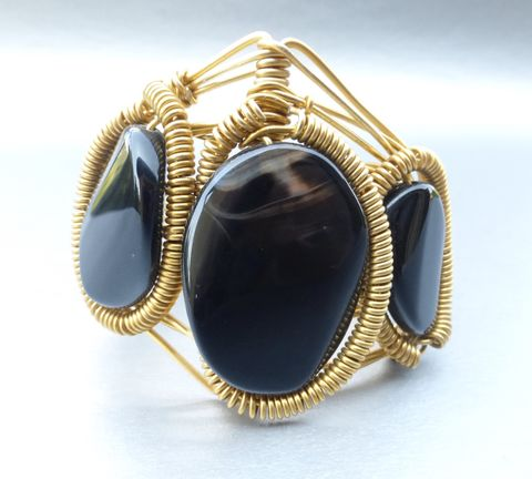 Black,Agate,Cuff,Bracelet,Statement,Wire,Wrap,Gold,Plated,Color,Band,Brown,Adjustable,OS,NWOT,genuine black agate cabochon cuff bracelet, brown black agate disc bracelet, gold plated wire wrap cuff bracelet, handmade black agate oval cabochon gold bracelet, one size fits jet black bracelet, black agate wire wrap cuff bracelet