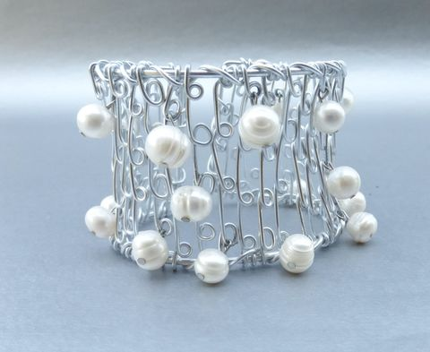 Genuine,Cultured,White,Pearls,Cuff,Bracelet,Dangling,Charm,Silver,Plate,Wire,Wrapping,Baroque,8mm,Beads,Bride,Wedding,Jewelry,pearl wire wrap silver cuff bracelet, dangling pearl charm silver bracelet, cultured white pearls bracelet, 8mm baroque white pearl bracelet, genuine pearl studded silver cuff bangle, bride pearl wedding bracelet