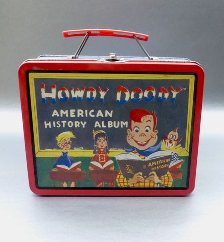 Vintage,90s,Howdy,Doody,Metal,Lunch,Box,Tin,Pail,Retro,Collection,Collectible,TV,Icon,Puppet,Cartoon,Marionette,Storage,Organizer,Container,Series,#1,howdy doody metal tin lunch box, collectible howdy doody, howdy doody memorabilia, americana lunch box, howdy doody tin lunch pail, western tin lunch box, howdy doody puppet marionette collection, rectangular metal lunch box