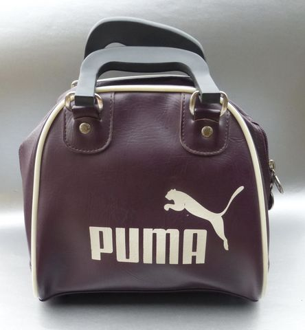 Small,Purple,Puma,Bowling,Ball,Bag,Retro,Vintage,Style,Genuine,Handbag,Ladies,Women,Teen,Cosplay,Sports,puma bowling ball handbag, purple puma gym bag, cosplay purple bag, retro bowling bag, vintage purple bowling ladies bag, rare puma purple bag, purple vinyl handbag, grape color bag, aubergine color handbag