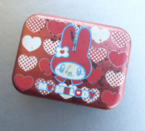 Rare,My,Melody,Small,Tin,Can,Metal,Box,Red,Black,Rabbit,Bunny,Rectangular,Trinket,Case,Hearts,Souvenir,Mementos,Novelty,Sundries,Container,Storage,Organizer,Sanrio,Collectible,Circa,2003,OOAK,red black my melody collectible small tin can, my melody metal box, my melody coin metal case, sanrio tin can, kawaii rabbit storage, my melody red bunny box, cheerful fawn forest, my melody collectible box, rare my melody collection, kawaii rectangular m