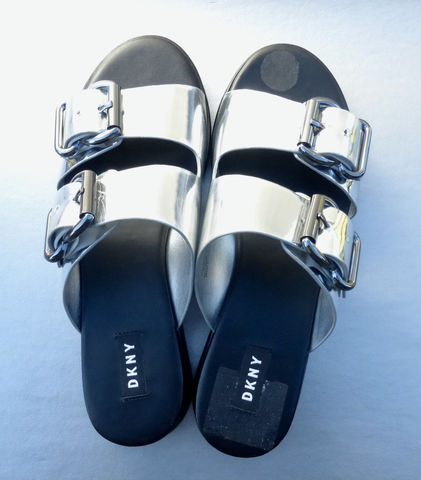 DKNY,Shiny,Metallic,Silver,Sandals,Straps,Slip,On,Mules,Canya,Style,Size,7.5M,EU,38B,UK,5M,KA900889,FFT,1910,CA#3115,Villa,Collezione,Villacollezione,dkny silver strap sandals size 75 medium, dkny canya silver ladies sandals size 8, dkny designer silver sandals,  donna karan new york silver womens sandals us size 75, dkny canya sandals ka900889, dkny silver sandals ftt 1910, gunmetal buckles, dkny silv