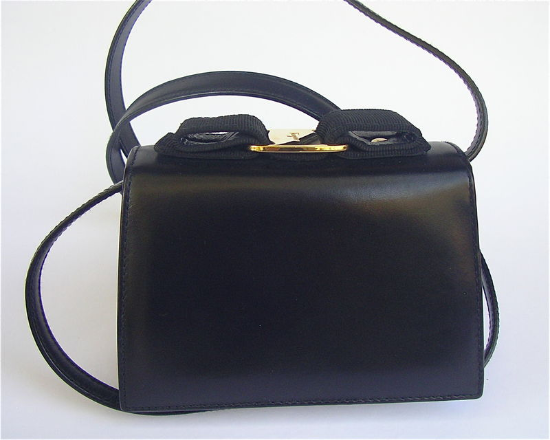 Black Vintage 90s Ferragamo Bag Vara Buckle Grosgrain Clutch Purse Designer - product images  of