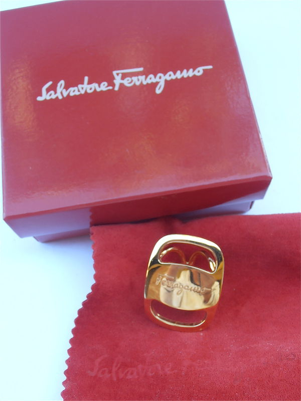 Vintage Ferragamo Scarf Ring Vara Buckle Designer Scarf Ring Signature Scarf Ring Gold Plated Scarf Ring Scarf Ferragamo Scarf Vintage 80s - product images  of