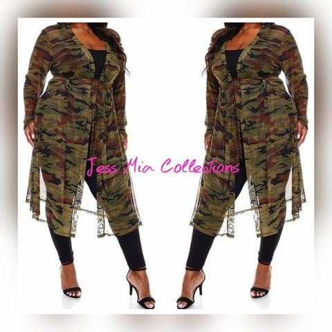 The,Camo,Duster, plus size clothing