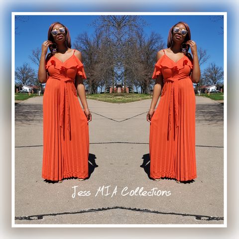 New,Arrival!,The,Tangerine,Pleated,Jumpsuit