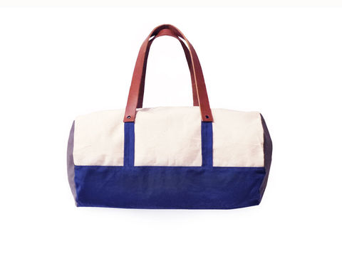 Pop,Duffle,Tote,w/,Leather,Straps,-,Sailor,Blue,,Confederate,Grey,Bags_And_Purses,duffle,men, Work,canvas_tote,color_block,leather_tote,canvas,leather,water_resistent,natural,blue, grey