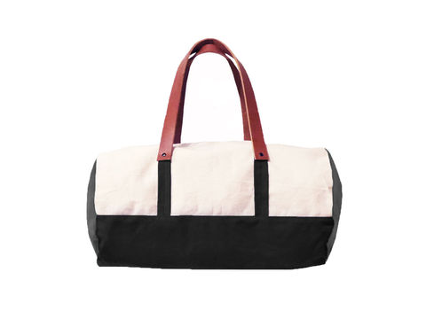 Pop,Duffle,Tote,w/,Leather,Straps,,Canvas,in,Natural,,Confederate,Grey,,Resistance,Black,Bags_And_Purses,duffle,men, Work,canvas_tote,color_block,leather_tote,canvas,leather,water_resistent,natural, grey,black