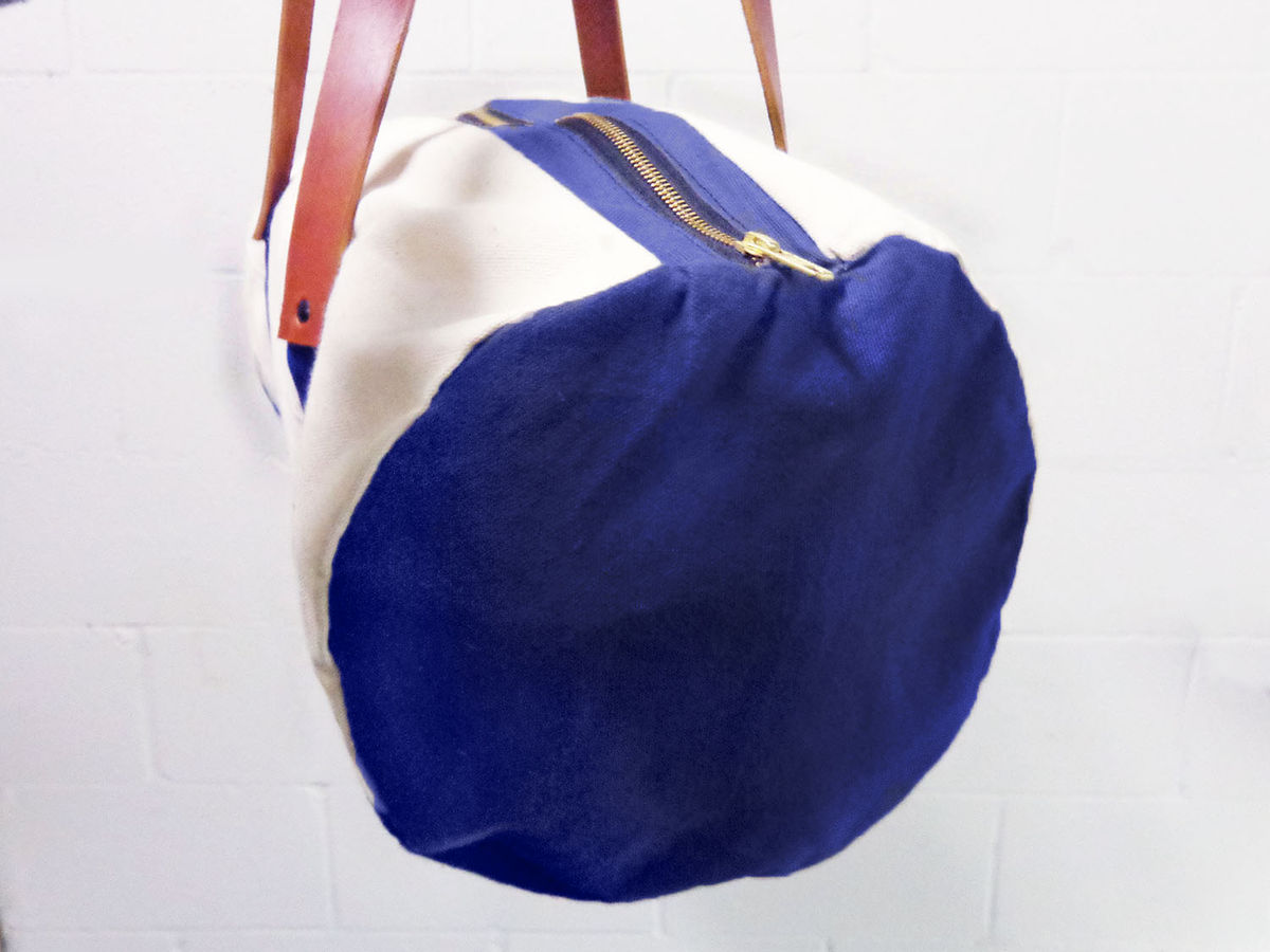 Pop Duffle Tote w/ Leather Straps, Canvas in Natural, Verdant Green, Sailor Blue - product images  of