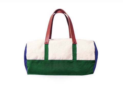 Pop,Duffle,Tote,w/,Leather,Straps,,Canvas,in,Natural,,Verdant,Green,,Sailor,Blue,Bags_And_Purses,duffle,men, Work,canvas_tote,color_block,leather_tote,canvas,leather,water_resistent,natural, blue,green