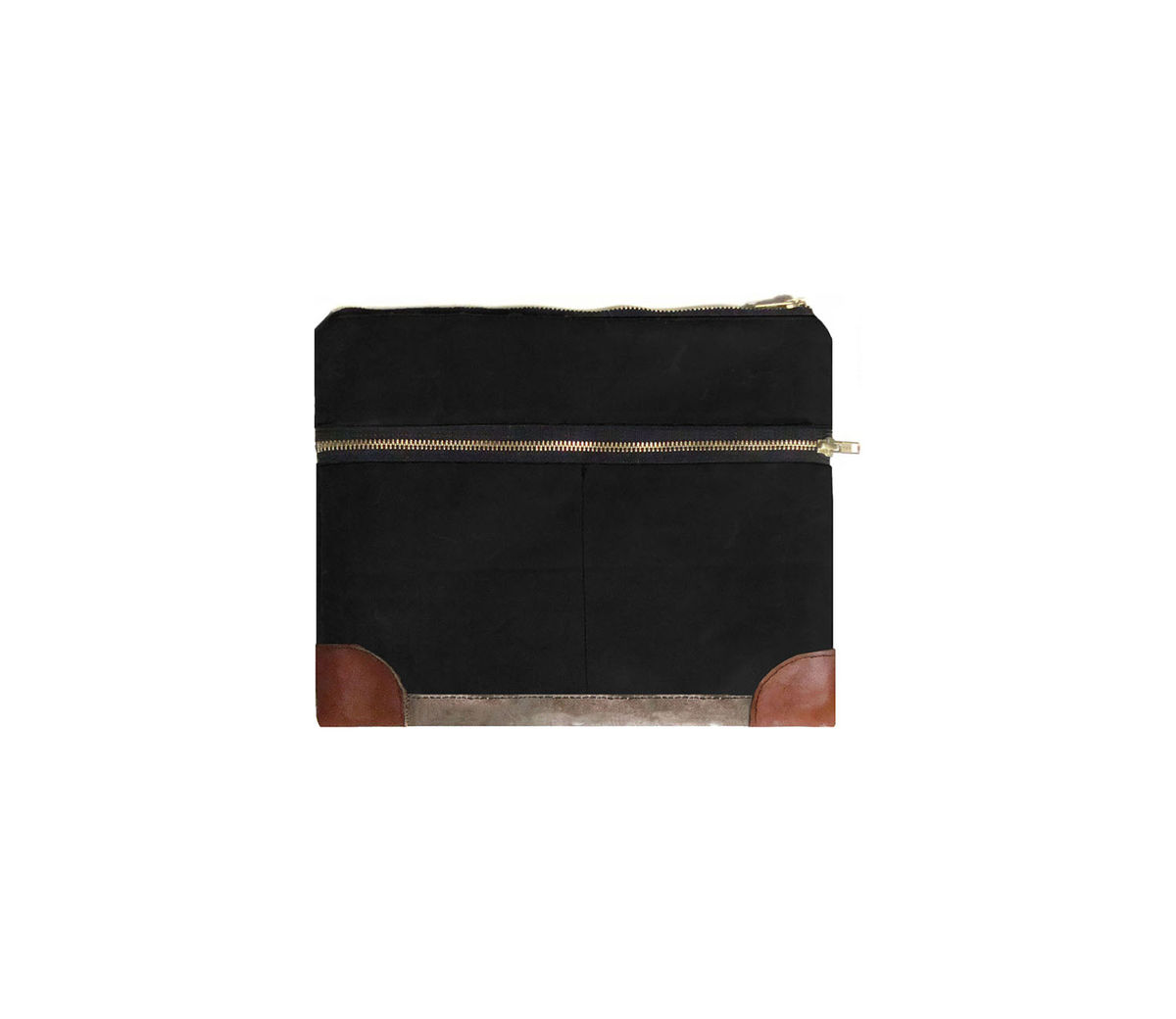 Everything iPad Case, Waxed Canvas, Leather, Custom Dyed in Resistance Black - product images  of