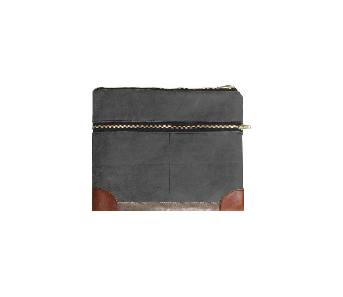 Everything iPad Case, Waxed Canvas, Leather, Custom Dyed in Confederate Grey - product images  of