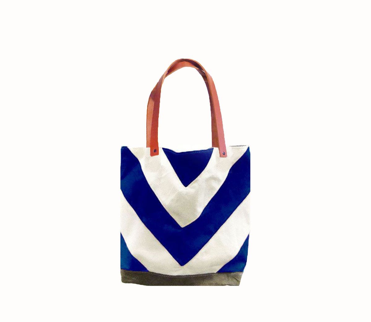 Chevron Tote City Market w/ Leather Straps in Blue - product images  of