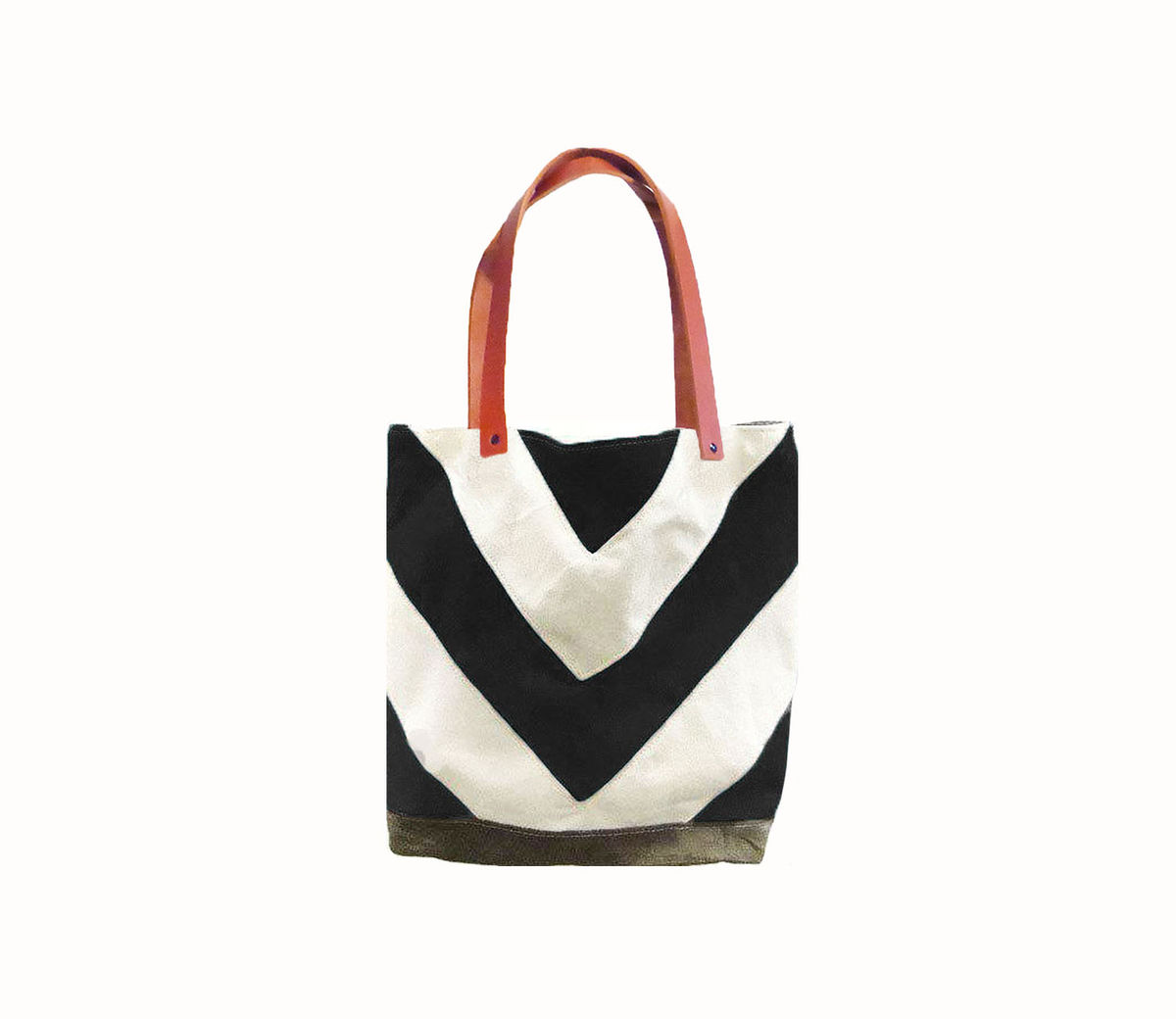 Chevron Tote City Market w/ Leather Straps in Black - product images  of