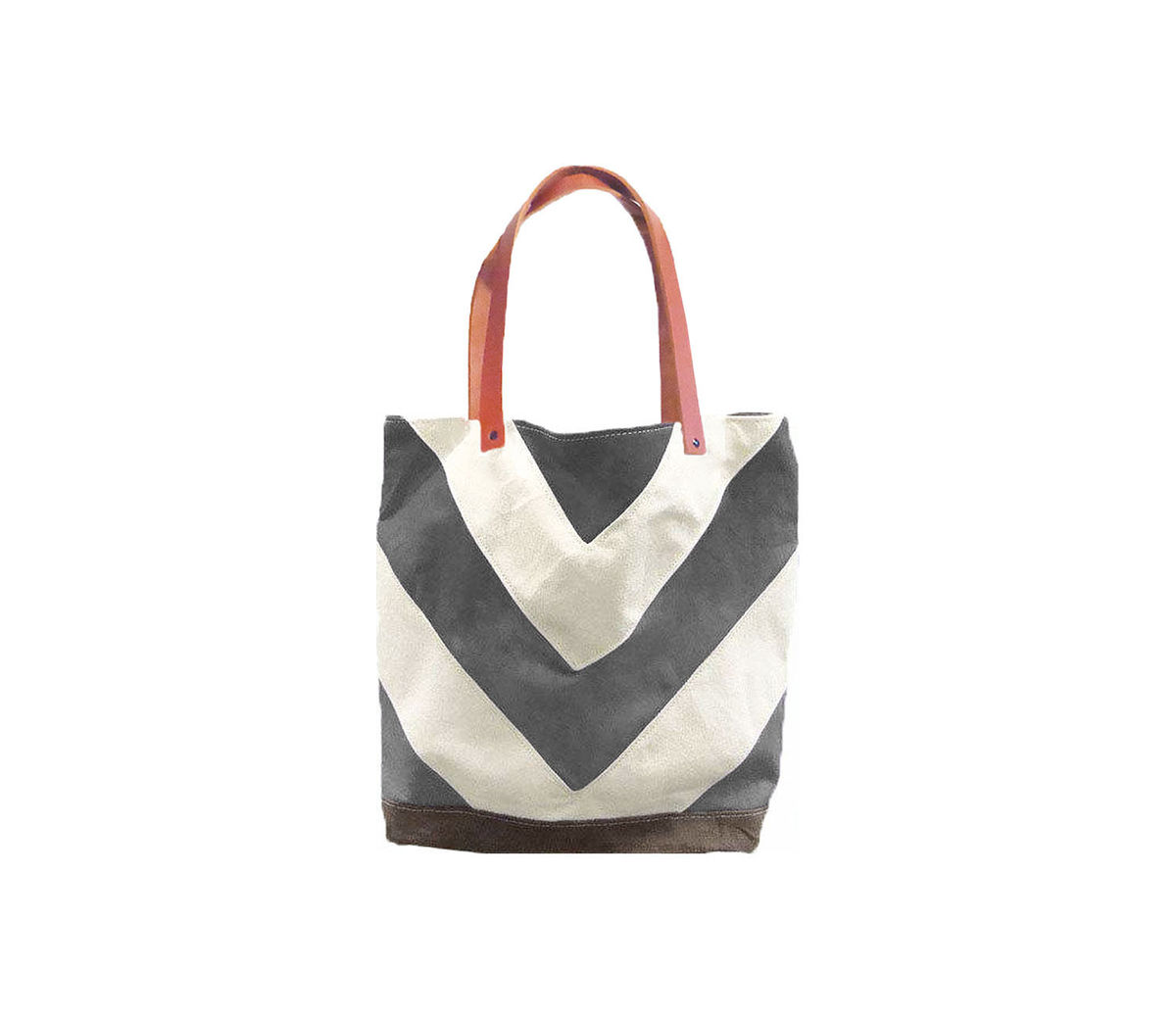 Chevron Tote City Market w/ Leather Straps in Confederate Grey - product images  of