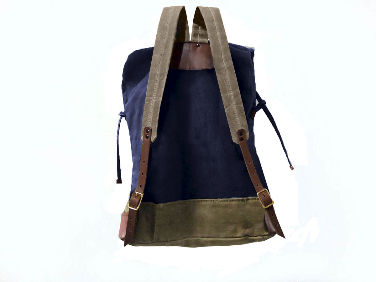 Sessa Carlo Waxed Canvas Backpack and Leather, Navy - product images  of