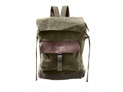 Sessa,Carlo,Waxed,Canvas,Backpack,and,Leather,,Olive,backpack, mclovebuddy, sessa_carlo, waxed_canvas, leather, military, utilitarian, brass, brown, olive