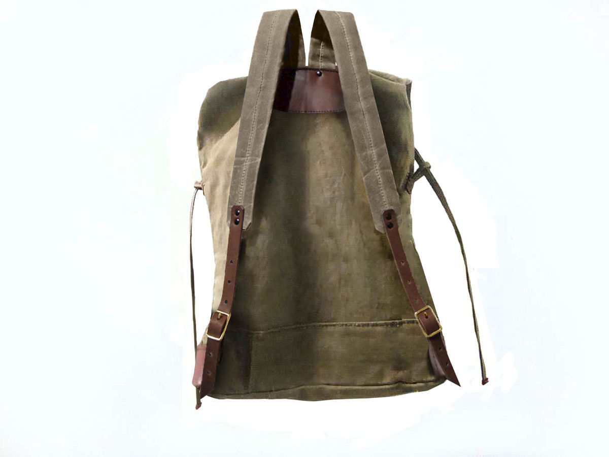Sessa Carlo Waxed Canvas Backpack and Leather, Olive - product images  of