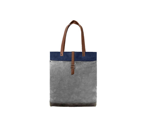 Classic,Waxed,Canvas,Tote,w/,Leather,Straps,in,Charcoal,and,Sailor,Blue,Bags_And_Purses, waxed_canvas,Work,canvas_tote,leather_tote,leather,water_resistent,canvas,olive,green,blue,navy