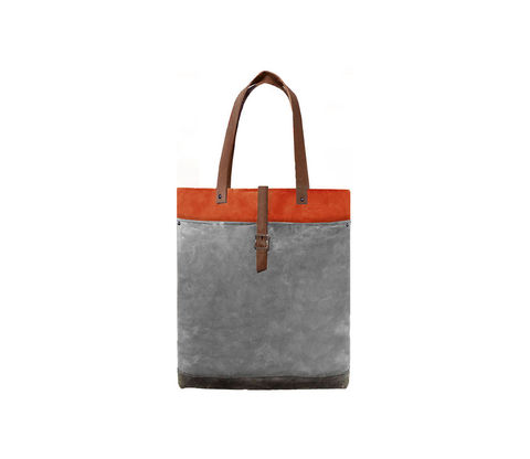 Classic,Waxed,Canvas,Tote,w/,Leather,Straps,in,Hunter,Bags_And_Purses, Work,canvas_tote,leather_tote,waxed_canvas,leather,water_resistent,canvas,grey,olive,orange