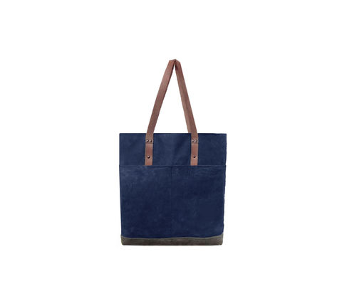 Quarters,Pocket,Waxed,Canvas,Tote,-,Sailor,Blue,and,Leather,Bags_And_Purses, Work,waxed_canvas_tote,color_block,leather_tote,waxed_canvas,leather,water_resistent,canvas,olive,grey
