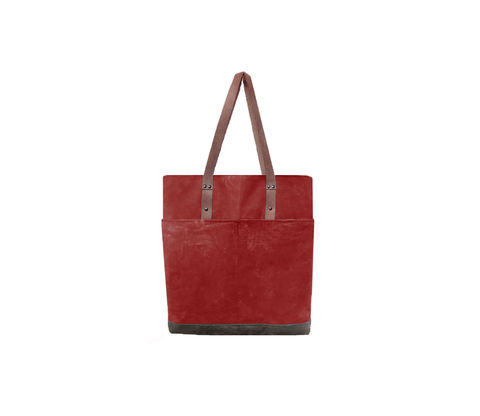 Quarters,Pocket,Waxed,Canvas,Tote,-,Blood,Root,and,Leather,Bags_And_Purses, Work,waxed_canvas_tote,color_block,leather_tote,leather,water_resistent,canvas,olive,grey,red