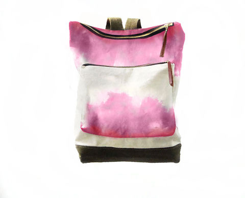 City,Backpack,,Hand-Dyed,,Custom-Waxed,-,Fuscia,Bags_And_Purses,Backpack,dip_dye,ombre,shibori,hand_dyed,canvas_backpack,leather_backpack,leather,cream,brown,olive,backpack,rucksack,antique brass,canvas,nylon,fuscia