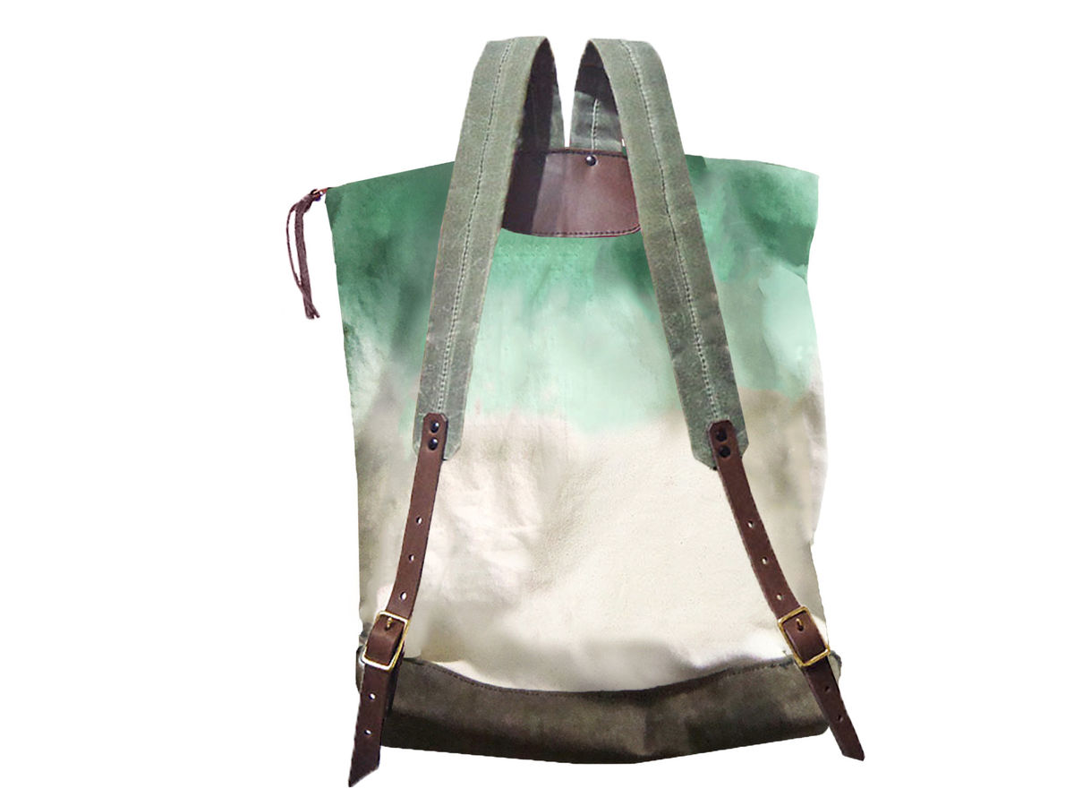 City Backpack, Hand-Dyed, Custom-Waxed - Jade - product images  of