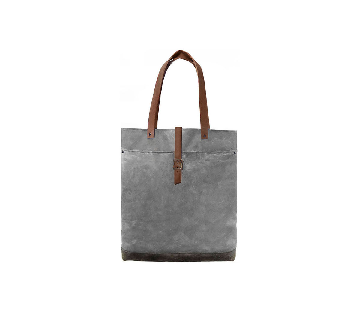 Classic Waxed Canvas Tote w/ Leather Straps in Confederate Grey - product images  of