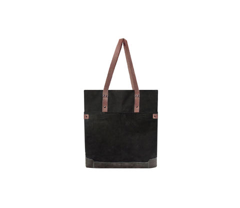 Quarters,Pocket,Waxed,Canvas,Tote,-,Resistance,Black,and,Leather,Bags_And_Purses, Work,waxed_canvas,color_block,leather_tote,leather,water_resistent,canvas,olive,grey