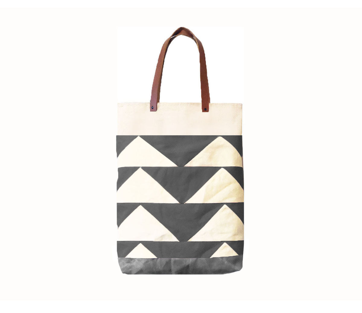 Convertible Tote, Backpack w/ Leather Straps - Bunting Triangle Charcoal - product images  of